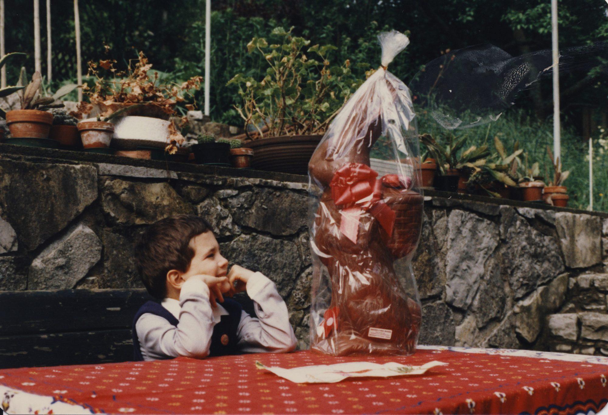 Schokoosterhasi für Thilo im April 1983.