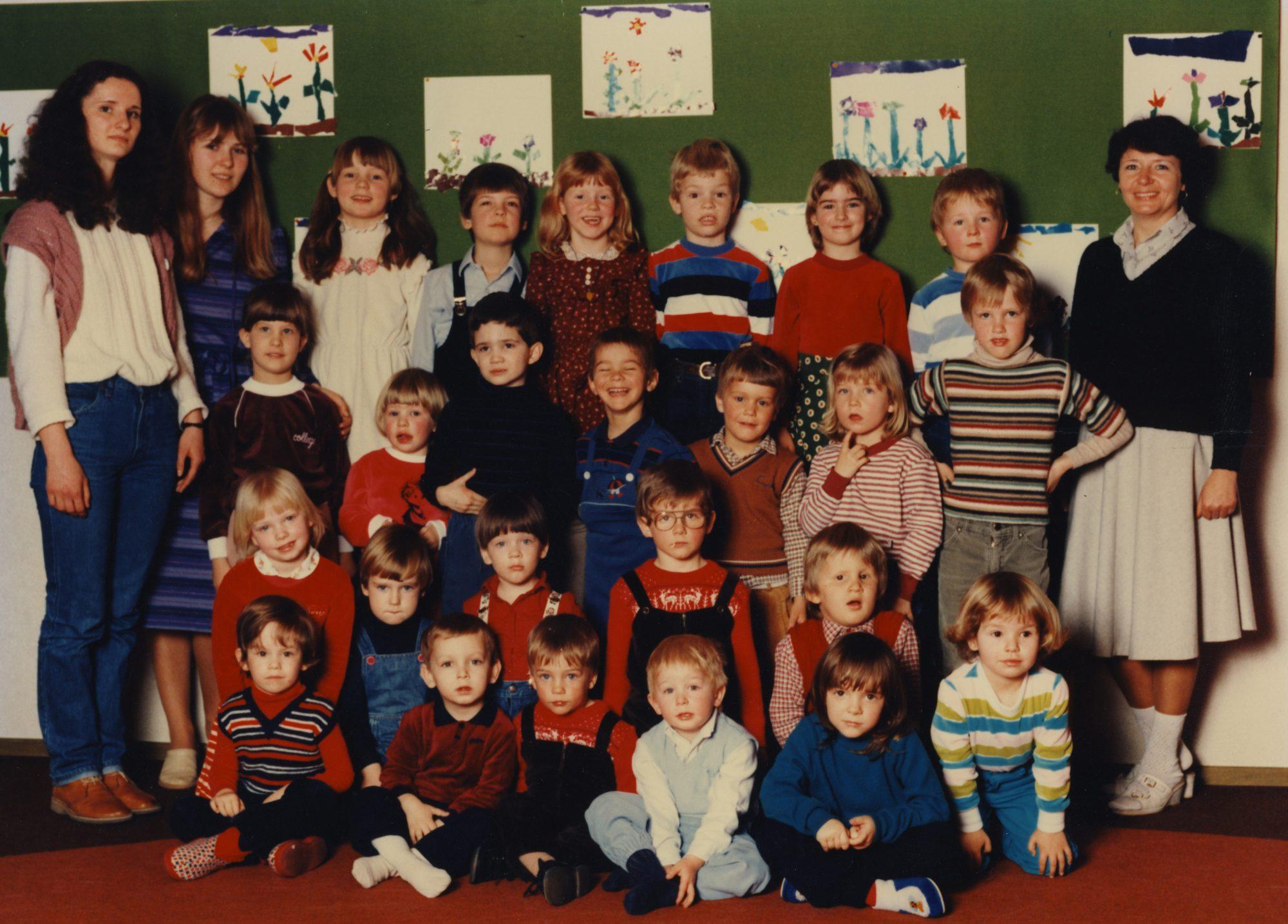 1984 - Kindergarten in Künzelsau. Diesen Blick kann ich auch nicht ganz deuten... Eine Idee?