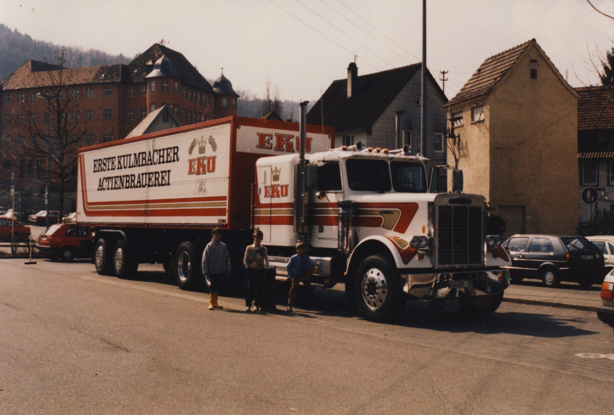 1986 - Der EKU Freightliner Truck in Künzelsau. Thilo, Michael und Florian
