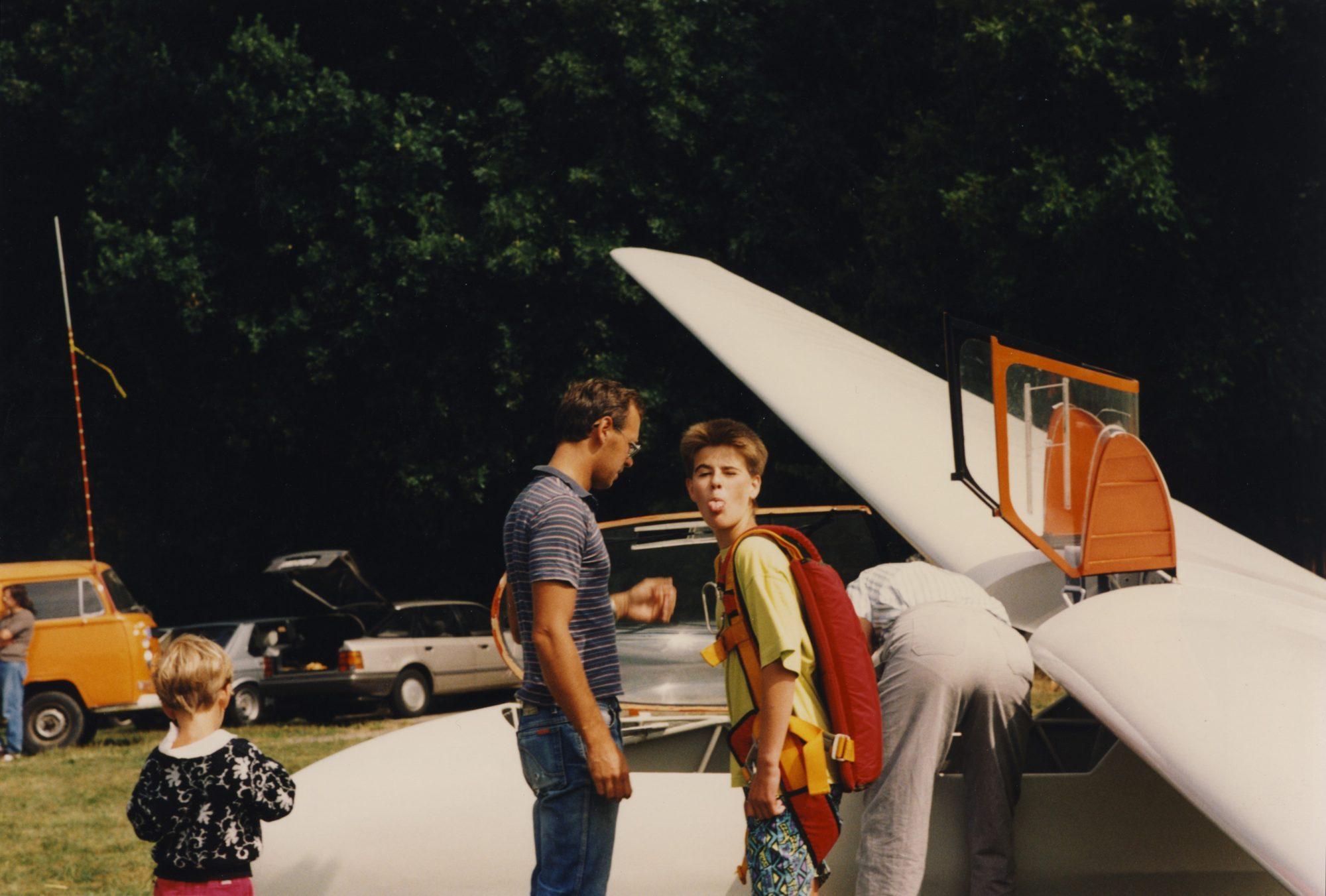 Michael kurz vor seinem Segelflug in Amrichshausen.