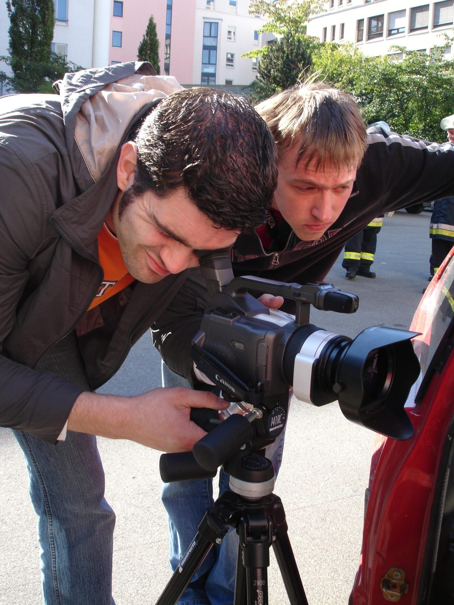 2006 - Dreharbeiten zum Abschlussfilm des Mediengestalters. Thilo und Helge.