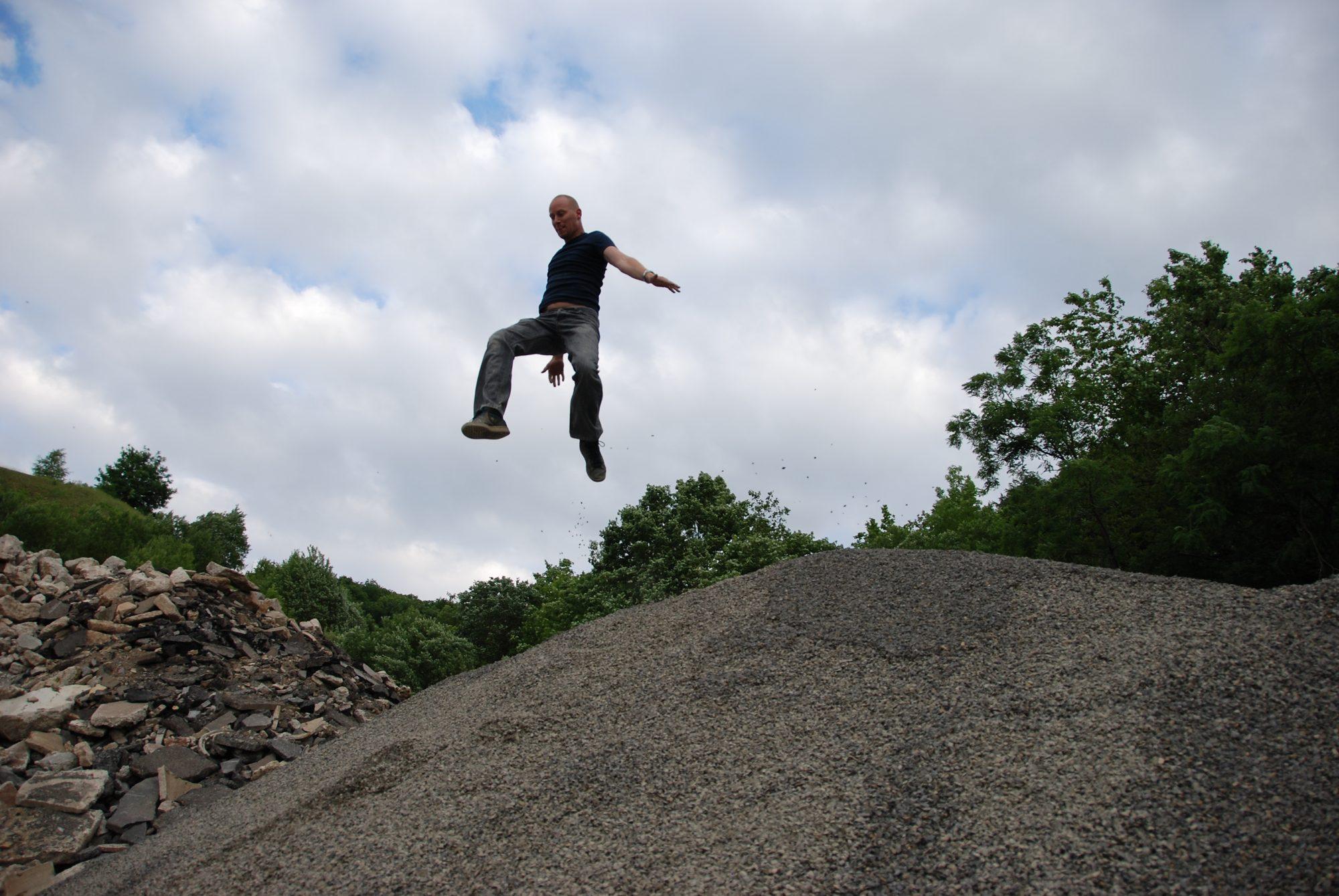 Juni 2008 - Nach den Testdrehs im Steinbruch von Berlichingen. Sebi im Anflug!