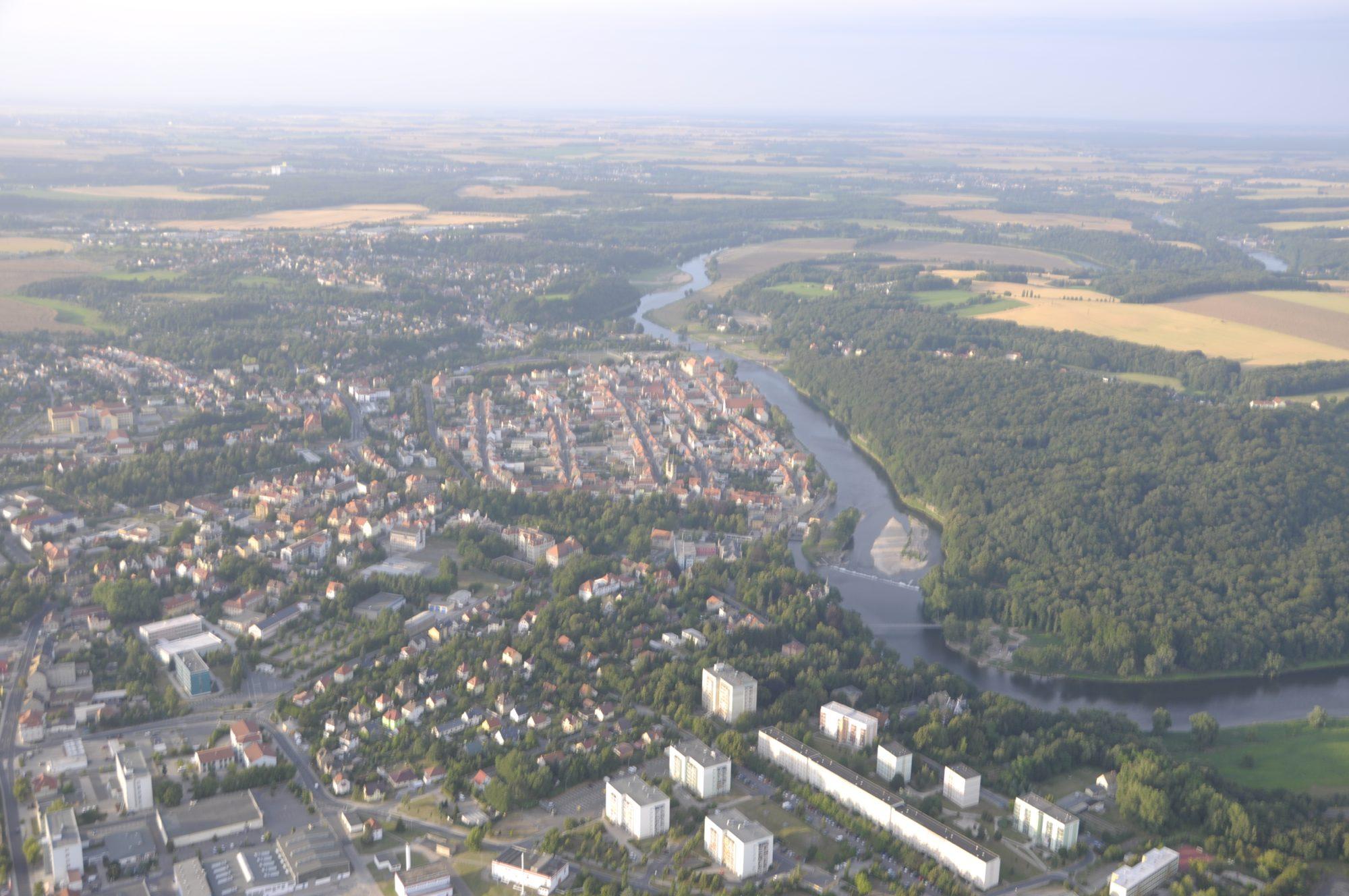 Grimma aus der Luft - Dieser Stadtteil stand vor wenigen Wochen noch komplett unter Wasser...