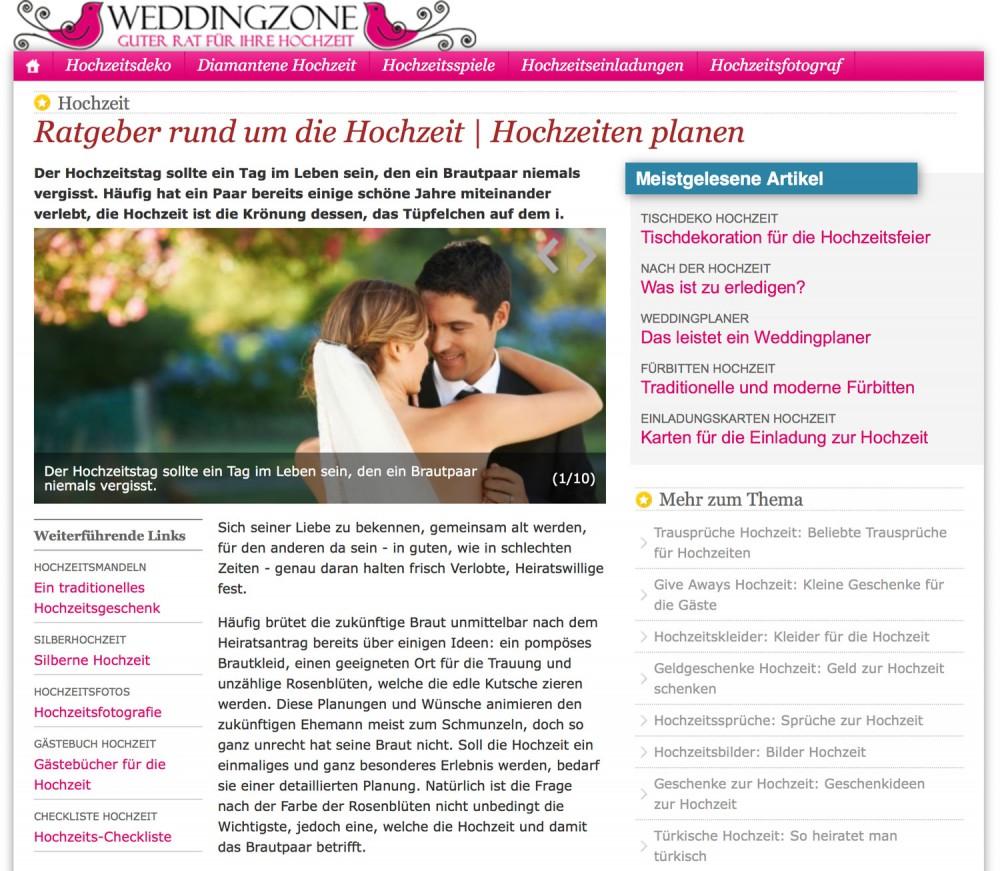 Website Weddingzone - Guter Rat für Ihre Hochzeit